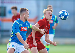 NAPLES, ITALY - Wednesday, October 3, 2018: Liverpool's Paul Glatzel (R) and Napoli's captain Giuseppe Esposito during the UEFA Youth League Group C match between S.S.C. Napoli and Liverpool FC at Stadio Comunale di Frattamaggiore. (Pic by David Rawcliffe/Propaganda)