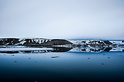 Reflection of ice and glaciers in the North Sea, Spitzbergen, Svalbard, Norway
