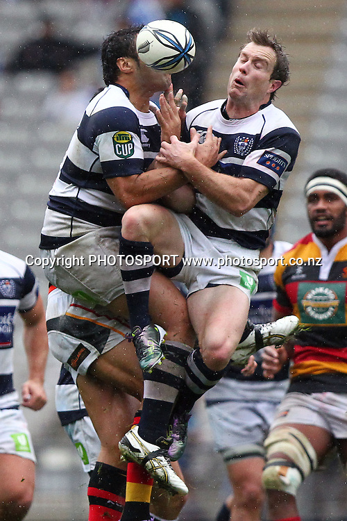 Auckland's Toby Morland crashes into teammate Ben Atiga for the high ball. ITM Cup rugby union match, Auckland v Waikato at Eden Park, Auckland, New Zealand. Saturday 7th August 2010. Photo: Anthony Au-Yeung/PHOTOSPORT