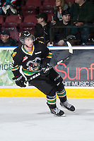 KELOWNA, CANADA - JANUARY 26: Mike Winther #15 of the Prince Albert Raiders skates on the ice at the Kelowna Rockets on January 26, 2013 at Prospera Place in Kelowna, British Columbia, Canada (Photo by Marissa Baecker/Shoot the Breeze) *** Local Caption ***