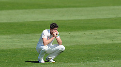 Dejection for Durham's Paul Coughlin as he is forced to go off injured. - Photo mandatory by-line: Harry Trump/JMP - Mobile: 07966 386802 - 14/04/15 - SPORT - CRICKET - LVCC County Championship - Day 3 - Somerset v Durham - The County Ground, Taunton, England.
