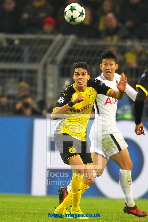 Marc Bartra of Borussia Dortmund and Heung-Min Son of Tottenham Hotspur during the UEFA Champions League match at Signal Iduna Park, Dortmund<br /> Picture by Yannis Halas/Focus Images Ltd +353 8725 82019<br /> 21/11/2017