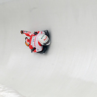 27 February 2007:  Maya Pedersen of Switzerland slides through curve 14 in the 4th run at the Women's Skeleton World Championships competition on February 27 at the Olympic Sports Complex in Lake Placid, NY.