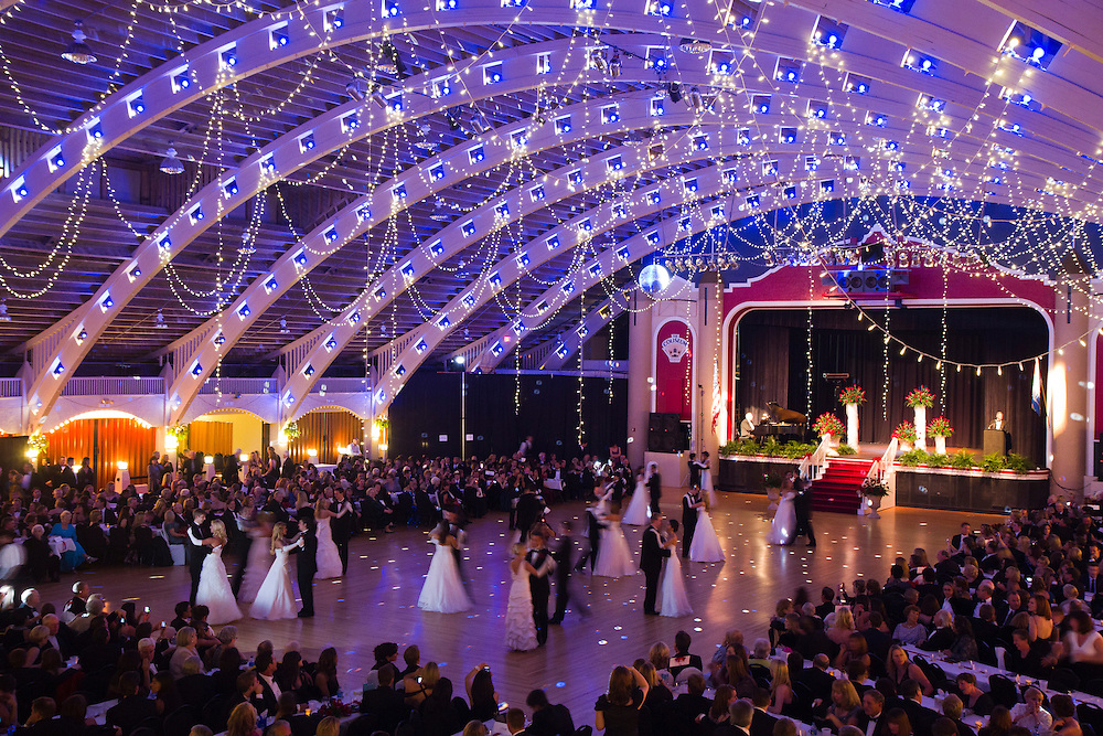 Caption:(Wednesday 12/28/2011 St. Petersburg) The Debutantes share a dance with their escorts under the lights of The Coliseum in St. Petersburg on Wednesday Dec. 28, 2011. The Presentation Ball, hosted by the St. Petersburg Debutante Club began in 1937...Summary:The Presentation Ball, hosted by the St. Petersburg Debutante Club. ..Photo by James Branaman