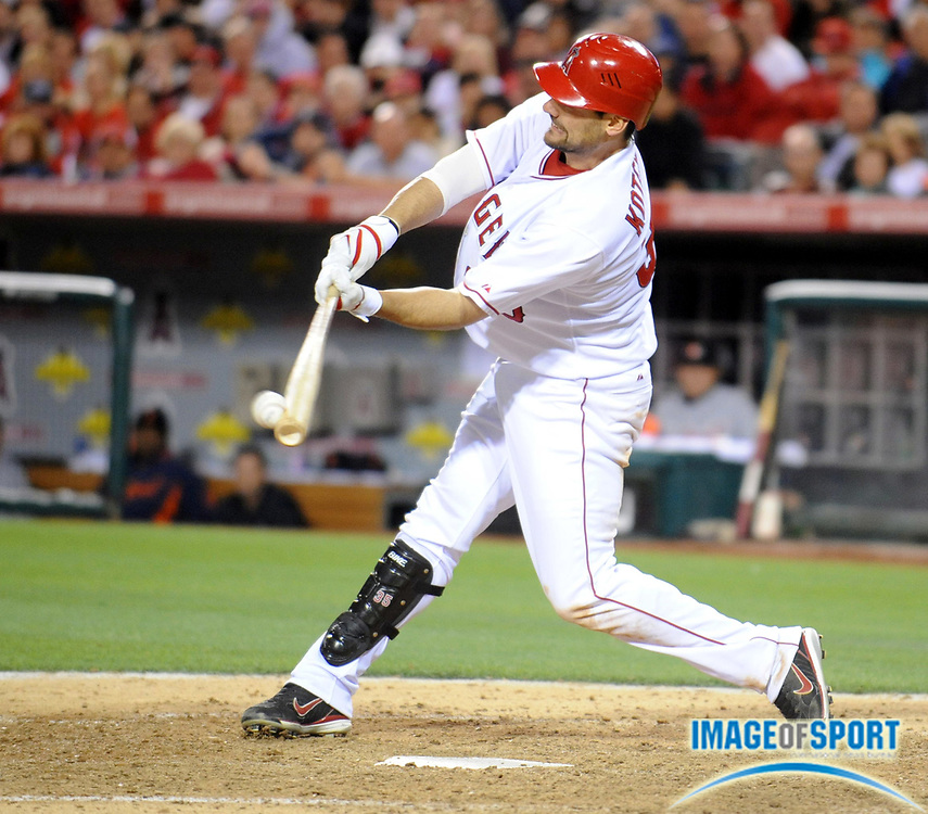 May 26, 2008; Anaheim, CA, USA; Los Angeles Angels first baseman Casey Kotchman (35) flies out with the bases loaded and two outs in the eighth inning against the Detroit Tigers at Angel Stadium. Mandatory Credit: Kirby Lee/Image of Sport-US PRESSWIRE