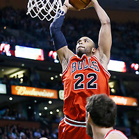 13 February 2013: Chicago Bulls power forward Taj Gibson (22) goes for the dunk during the Boston Celtics 71-69 victory over the Chicago Bulls at the TD Garden, Boston, Massachusetts, USA.