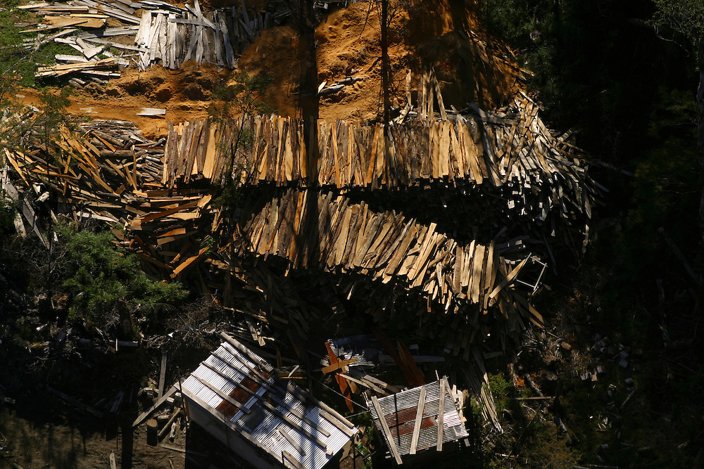 Lumber on Chiloe Island, Chile, Feb. 11, 2004. Daniel Beltra/Greenpeace.