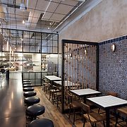 April 11, 2015 - New York, NY : An interior view of part of the dining room of George Mendes's soon-to-open Portuguese restaurant Lupulo, at 835 6th Ave. in Manhattan, on Saturday afternoon.  CREDIT: Karsten Moran for The New York Times