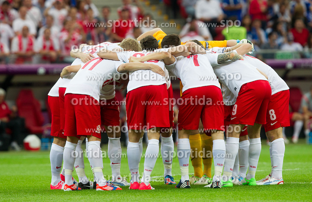 Team of Poland during the UEFA EURO 2012 group A match between Poland and Greece at The National Stadium on June 8, 2012 in Warsaw, Poland.  (Photo by Vid Ponikvar / Sportida.com)