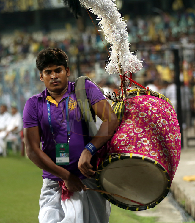 Kolkata Knight Riders drumer during match 38 of the Pepsi IPL 2015 (Indian Premier League) between The Kolkata Knight Riders and The Sunrisers Hyderabad held at Eden Gardens Stadium in Kolkata, India on the 4th May 2015.<br /> <br /> Photo by:  Sandeep Shetty / SPORTZPICS / IPL