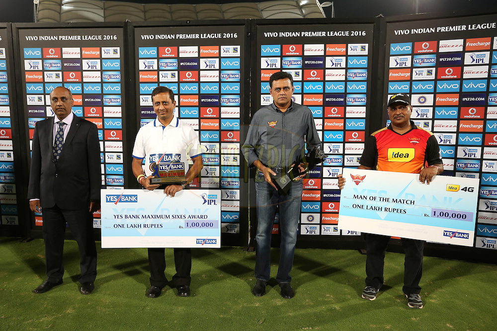 The Post Match Presentation Party during match 27 of the Vivo IPL 2016 (Indian Premier League) between the Sunrisers Hyderabad and the Royal Challengers Bangalore held at the Rajiv Gandhi Intl. Cricket Stadium, Hyderabad on the 30th April 2016<br /> <br /> Photo by Shaun Roy / IPL/ SPORTZPICS