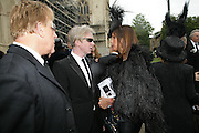 Antony Price, Philip Treacy and Countess Debbie von Bismark, Funeral for Isabella Blow. Gloucester Cathedral. 15 May 2007.  -DO NOT ARCHIVE-© Copyright Photograph by Dafydd Jones. 248 Clapham Rd. London SW9 0PZ. Tel 0207 820 0771. www.dafjones.com.