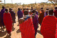 Maasai tribal greeting, Manyatta village, Ngorongoro Conservation Area, Tanzania