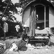 Family and their horse drawn camp site, Glastonbury, Somerset, 1989