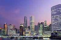 Hong Kong skyline and Kowloon bay, Kowloon, Hong Kong, China.