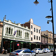 Shops on George Street in the historic Rocks district in downtown Sydney