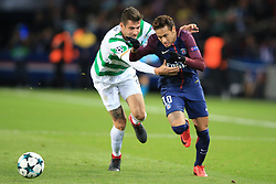 22 November 2017 -  UEFA Champions League (Group B) - Paris Saint-Germain v Celtic - Nir Bitton of Celtic grapples with Neymar of PSG - Photo: Marc Atkins/Offside