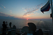 Aboard MS Kazan. Sunset over Onega Lake...A river cruise from Moscow to St. Petersburg aboard MS Kazan, the most luxurious vessel (four star plus) operating in Russia. It is run by Austrian River Cruises under strictly Western standards, chartered - amongst others - by Club 50, a senior's travel agency based in Vienna.