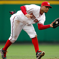 18 July 2007:  Washington Nationals shortstop Felipe Lopez (2) fields a line drive to end the 5th inning off the bat of Houston Astros second baseman Chris Burke (2).  The Nationals defeated the Astros 7-6 at RFK Stadium in Washington, D.C.  ****For Editorial Use Only****