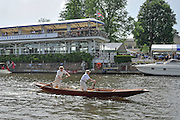 Henley, GREAT BRITAIN, 2012   A traditional wooden Punt, with two poles person. Thursday   16:13:30   28/06/2012  [Mandatory Credit, Intersport Images]. ...Rowing Courses, Henley Reach, Henley, ENGLAND . HRR