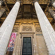 Wide-angle of the columns on the exterior of the Pantheon