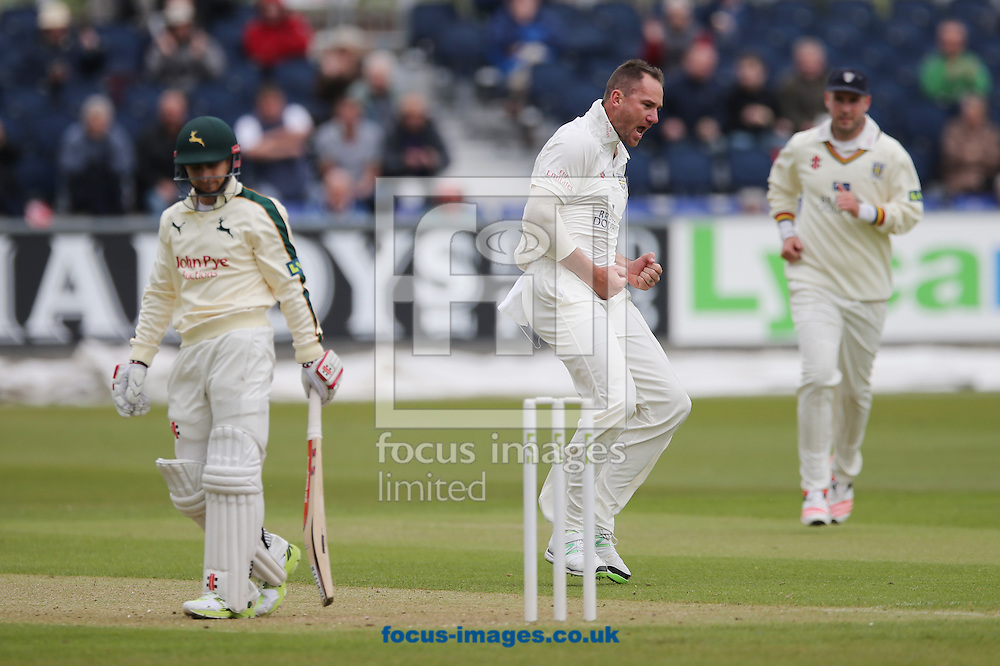 John Hastings (c) of Durham celebrates the wicket of James Taylor (l) of Nottinghamshire during the LV County Championship Div One match at Emirates Durham ICG, Chester-le-Street<br /> Picture by Simon Moore/Focus Images Ltd 07807 671782<br /> 10/05/2015