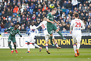 Robert Beric of Saint Etienne and Jérémy Morel of Lyon during the French Championship Ligue 1 football match between Olympique Lyonnais and AS Saint-Etienne on february 25, 2018 at Groupama stadium in Décines-Charpieu near Lyon, France - Photo Romain Biard / Isports / ProSportsImages / DPPI
