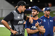 Tim Southee chats to Kane Williamson at the post match presentation.<br /> Pakistan tour of New Zealand. T20 Series. 3rd Twenty20 international cricket match, Bay Oval, Mt Maunganui, New Zealand. Sunday 28 January 2018. © Copyright Photo: Andrew Cornaga / www.Photosport.nz