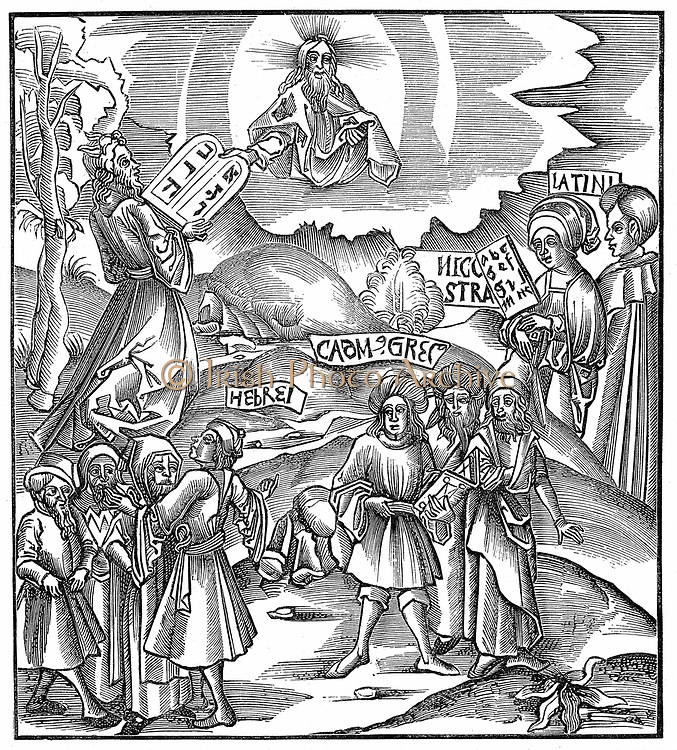 Languages. Moses receiving from God the tablets of the Law in Hebrew. 'Bible' Exodus 34. Central group represents Greek. On right figure of Learning holds a hornbook and by her stands figure representing Latin. Woodcut from 'Margarita philosophica nova', 1512.
