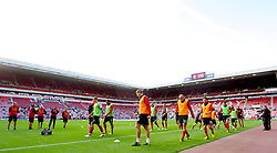 SUNDERLAND, ENGLAND - Saturday, September 15, 2012: Liverpool warm-up before the Premiership match against Sunderland at the Stadium of Light. (Pic by Vegard Grott/Propaganda)