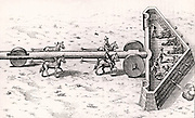 Proposed method of moving artillery battery towards the enemy while giving some protection to the guns and gunners. Engraving from 'Utriusque cosmi ... historia' by Robert Fludd (Oppenheim, 1617-1619).