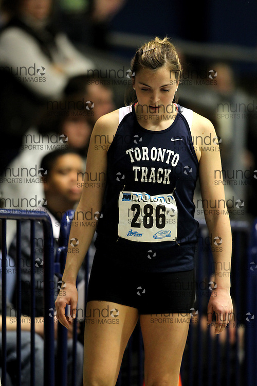 (Windsor, Ontario---11 March 2010) Tory Merrill of University of Toronto competes in the  competes in the pentathlon 800m at the 2010 Canadian Interuniversity Sport Track and Field Championships at the St. Denis Center. Photograph copyright Claus Andersen/Mundo Sport Images. www.mundosportimages.com