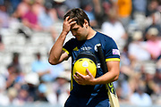 Wicket - Rilee Rossouw of Hampshire looks dejected as he walks back to the pavilion after being dismissed by Jamie Overton of Somerset during the Royal London 1 Day Cup Final match between Somerset County Cricket Club and Hampshire County Cricket Club at Lord's Cricket Ground, St John's Wood, United Kingdom on 25 May 2019.