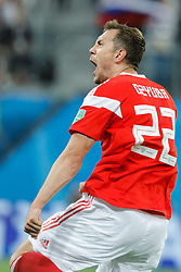 June 19, 2018 - Saint Petersburg, Russia - Artem Dzyuba of Russia national team celebrates his goal during the 2018 FIFA World Cup Russia group A match between Russia and Egypt on June 19, 2018 at Saint Petersburg Stadium in Saint Petersburg, Russia. (Credit Image: © Mike Kireev/NurPhoto via ZUMA Press)