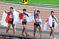 Athletics - 2017 IAAF London World Athletics Championship - Day Thirteen, Evening Session<br /> <br /> Men's 4 x 400m Relay Final<br /> <br /> The Japanese team celebrate their Bronze Medal at the London Stadium.<br /> <br /> COLORSPORT/ANDREW COWIE