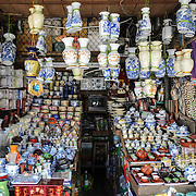 Pottery and ceramic goods for sale in a stall at  Cho Dong Ba, the main city market in Hue, Vietnam.