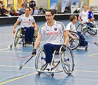 BREDA - Paragames 2011 Breda, Ernst Vermaas zaterdag tijdens  de interland Nederland-Duitsland  bij het 4-landentoernooi Wheelchair Floorball Hockey, het  Nederlands handvoortbewogen rolstoelhockeyteam.  ANP COPYRIGHT KOEN SUYK