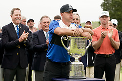 May 19, 2019 - Bethpage, New York, United States - Brooks Koepka holds the Wanamaker trophy after winning the 101st PGA Championship at Bethpage Black. (Credit Image: © Debby Wong/ZUMA Wire)