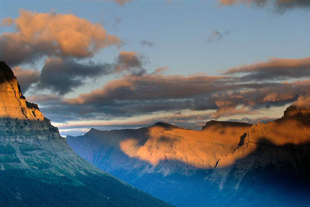 Sunset over the peaks of near Logan Pass in Glacier National Park.