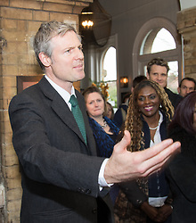Kew, London, February 12th 2016. Conservative Mayor of London Candidate Zac Goldsmith holds a Q & A session for local residents at the Tap on the Line pub at Kew Gardens Station. ///FOR LICENCING CONTACT: paul@pauldaveycreative.co.uk TEL:+44 (0) 7966 016 296 or +44 (0) 20 8969 6875. ©2015 Paul R Davey. All rights reserved.