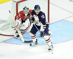 Luke Pither of the Barrie Colts in Game 3 of the Rogers OHL Championship Series in Windsor on Sunday May 2. Photo by Aaron Bell/OHL Images