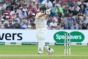 Steve Smith of Australia is hit on the helmet by a Ben Stokes of England bouncer during the International Test Match 2019 match between England and Australia at Edgbaston, Birmingham, United Kingdom on 3 August 2019.