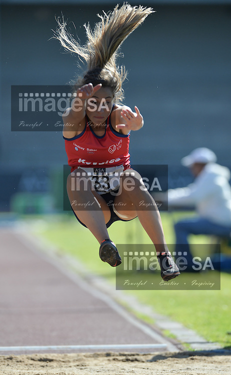 BLOEMFONTEIN, SOUTH AFRICA - MAY 06: Maryke Brits of Free State in the women's long jump during the SA Open Athletic Championships at Mangaung Stadium on May 06 2016 in Bloemfontein, South Africa. (Photo by Roger Sedres/Gallo Images)