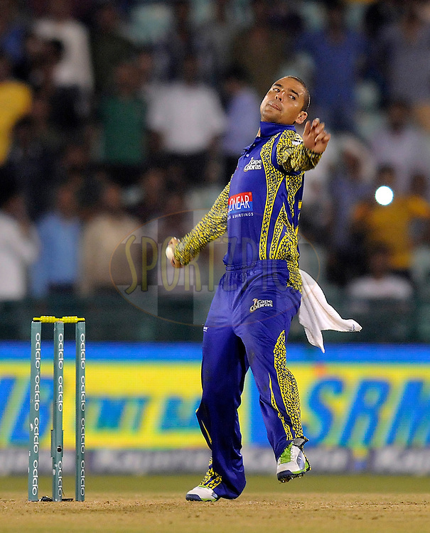 Justin Ontong captain of Cape Cobras bowls during match 3 of the Oppo Champions League Twenty20 between the Cape Cobras and the Northern Knights held at the Chhattisgarh International Cricket Stadium, Raipur, India on the 19th September 2014<br /> <br /> Photo by:  Pal Pillai / Sportzpics/ CLT20<br /> <br /> <br /> Image use is subject to the terms and conditions as laid out by the BCCI/ CLT20.  The terms and conditions can be downloaded here:<br /> <br /> http://sportzpics.photoshelter.com/gallery/CLT20-Image-Terms-and-Conditions-2014/G0000IfNJn535VPU/C0000QhhKadWcjYs