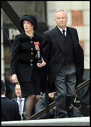 Lord and Lady Archer attend Lady Thatcher's funeral at St Paul's Cathedral following her death last week, London, UK, Wednesday 17 April, 2013, Photo by: Andrew Parsons / i-Images