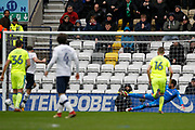 Preston North End midfielder Alan Browne (8) sends Derby County goalkeeper Scott Carson (1) the wrong way but puts the penalty wide during the EFL Sky Bet Championship match between Preston North End and Derby County at Deepdale, Preston, England on 2 April 2018. Picture by Craig Galloway.