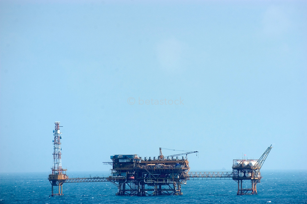 Offshore oil drilling platform in the Gulf of Mexico.<br />