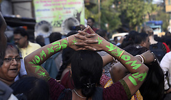 April 30, 2019 - Kolkata, West Bengal, India - Sex worker paints their body with slogan during a rally for their demands on the eve of International Labour day. (Credit Image: © Saikat Paul/Pacific Press via ZUMA Wire)