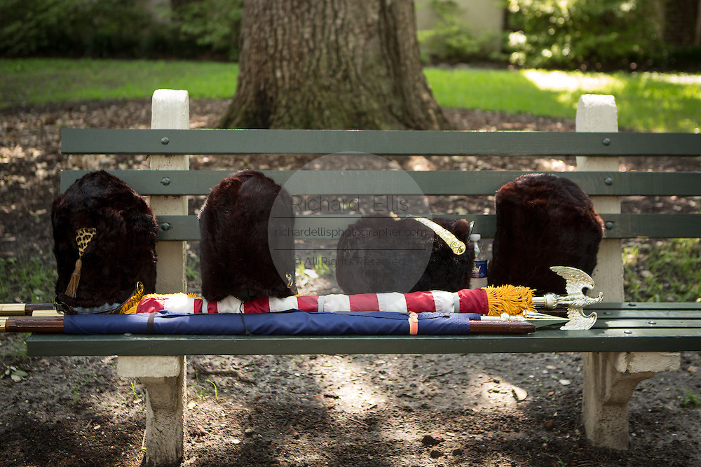 Bearskin hats on a park bench during Carolina Day celebrations and parade on June 28, 2013 in Charleston, South Carolina. Carolina Day celebrates the American victory at the Battle of Sullivan's Island, SC on June 28, 1776.