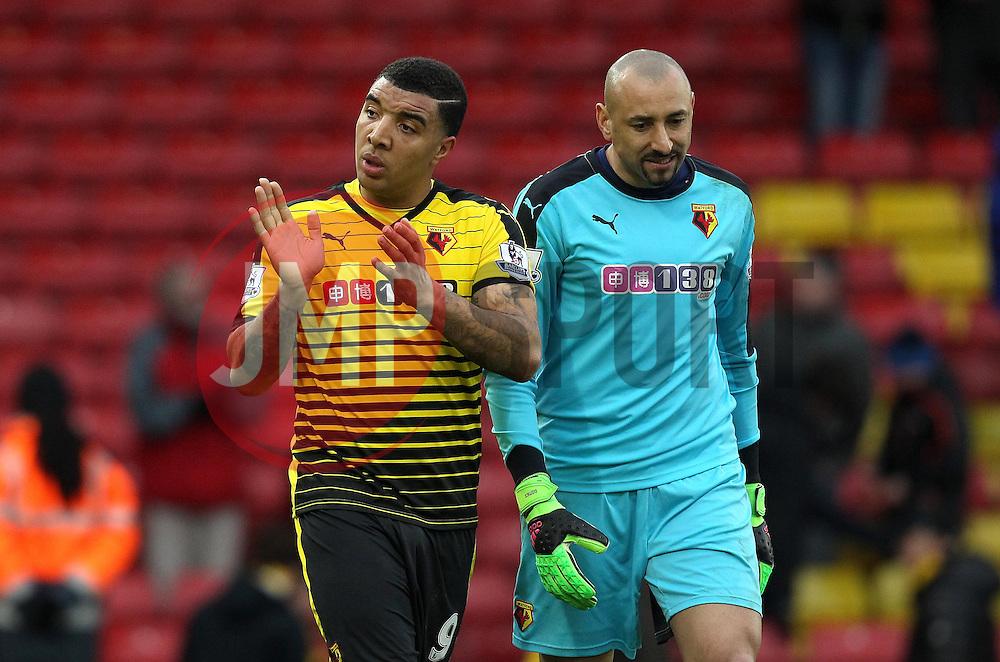 Troy Deeney of Watford and Heurelho Gomes of Watford - Mandatory byline: Robbie Stephenson/JMP - 19/03/2016 - FOOTBALL - Vicarage Road - Watford, England - Crystal Palace v Leicester City - Barclays Premier League